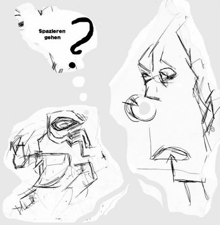 Spazieren gehen? Just a doodle. Digital bearbeitet, 2016